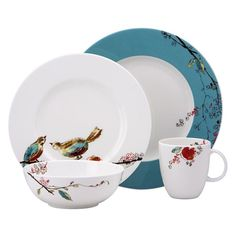 Lenox Chirp 4 Piece Place Setting - The Lenox Chirp 4 Piece Place Setting has a quirky modern elegance. It has a bold flash of color splashing against the white of the fine bone china,...