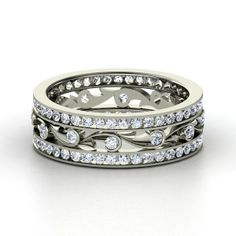 #engagementrings #classicengagementrings 14K White Gold Ring with Diamond | Sea Spray Band | Gemvara