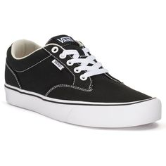 Vans Winston Lite Men's Skate Shoes ($60) ❤ liked on Polyvore featuring men's fashion, men's shoes, men's sneakers, black, mens black sneakers, mens lightweight running shoes, mens black skate shoes, mens sneakers and mens black shoes