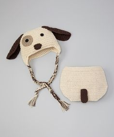 This Brown Doggy Beanie & Diaper Cover - Infant by chéri by Bébé Oh La La is perfect! #zulilyfinds