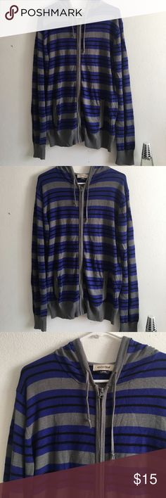 Blue Striped Hoodie Jacket w Pockets Excellent used condition. Soft sweater. Has pockets and a hoodie anchor blue Jackets & Coats