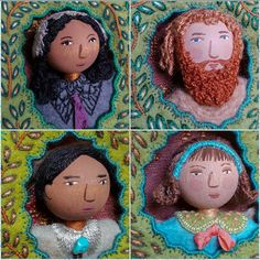 Face Time Portraits Clockwise from Top Left: Gentle Soul, (Title Unknown), Do you remember Turquoise Bolo Tie Felt Fabric, Fabric Dolls, Fabric Art, Bolo Tie, Flower Fairies, Textile Artists, Art Dolls, Needlework, Doll Clothes