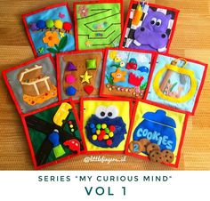 "VOL 1 ""My curious mind"" quiet book, busy book, toddler activity book Diy Quiet Books, Baby Quiet Book, Book Activities, Toddler Activities, Quiet Book Patterns, Creative Skills, Busy Book, Felt Toys, Felt Crafts"