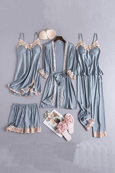 Cute Sleepwear, Satin Sleepwear, Sleepwear Women, Teen Fashion Outfits, Chic Outfits, Fashion Women, Pajama Outfits, Nightgowns For Women, Pajamas Women