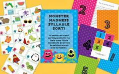 Monster Madness! A syllable sorting activity... with a giveaway!