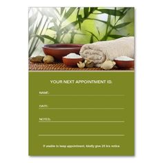 Day spa, massage, Aromatherapy appointment card Business Card Templates