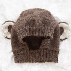 Cozy handknit monkey hat for baby, baby alpaca wool, handcrafted by artisans in Bolivia.