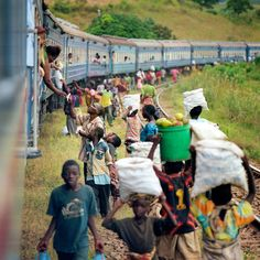 Whenever the Tazara train stopped in Tanzania, which was frequently, there were almost always people gathering around to sell goods to the passengers.