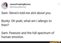 Sam: Steve's told me alot about you. Bucky: Oh yeah, what am I allergic to then? Sam: Peanuts and the full spectrum of human emotion. Marvel Quotes, Funny Marvel Memes, Dc Memes, Avengers Texts, Marvel Avengers, Bucky Barnes Headcanon, Superfamily Avengers, Human Emotions, Disney Marvel