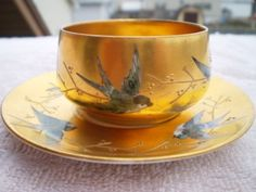 This is a beautiful gold with blue birds dresden cup & saucer. The cup is about 1 in. tall the saucer is 4 across. Home Design Decor, House Design, Tea Cup Saucer, Dresden, Teacups, Moscow Mule Mugs, Blue Bird, Tea Set, Antique Gold