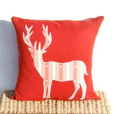 Deer Stag Cushion, Red Deer Linen Cushion Pillow, Cottage Chic, Country Décor, Christmas Cushion Pillow. £32.00, by Free Spirit Designs