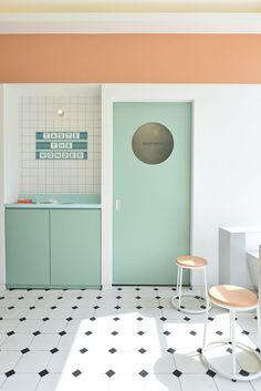 Bedroom Ideas Decor Home Decoration Ideas For Wedding Cafe Interior Design, Cafe Design, Store Design, Interior Architecture, House Design, Design Retro, Vintage Design, Pastel Interior, Coffee Shop Design