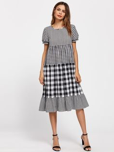 To find out about the Puff Sleeve Mixed Gingham Dress at SHEIN, part of our latest Dresses ready to shop online today! Cute Summer Dresses, Simple Dresses, Cute Dresses, Casual Dresses, Fashion Dresses, Casual Wear, Linen Dresses, Cotton Dresses, Tunic Dresses