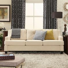 INSPIRE Q Elston Linen Tufted Sloped Track Sofa - Overstock™ Shopping - Great Deals on INSPIRE Q Sofas & Loveseats
