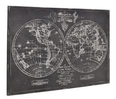 Antique Style Globe Canvas - £80.00 - we love this canvas of old globes wall art, the cream line drawing of the western and eastern hemispheres on a contrasting distressed black painted background really gives it that aged look. Width 100cm x Depth 3cm x Height 72cm. Delivery 5 working days. From www.sophiasnest.co.uk