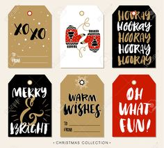 47968945-Christmas-gift-tag-with-calligraphy-Handwritten-modern-brush-lettering-XO-XO-Hooray-Merry-and-Bright-Stock-Vector.jpg (1300×1173)