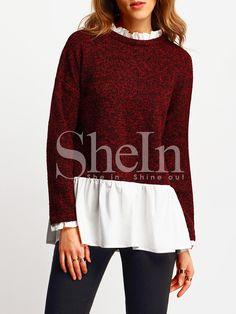 Shop Burgundy Contarst White Ruffle Hem Blouse online. SheIn offers Burgundy Contarst White Ruffle Hem Blouse & more to fit your fashionable needs.