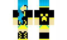 minecraft skin Blue-and-yellow-DJ-girl Minecraft Skins Blue, Amazing Minecraft, Love Craft, Dj, Yellow, Cute, Pink, Crafts, Girls