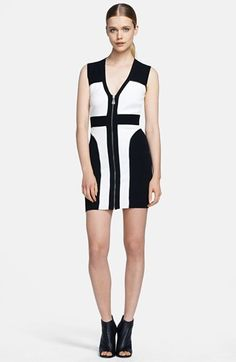 Free shipping and returns on McQ by Alexander McQueen Colorblock Body-Con Dress at Nordstrom.com. Sporty, black-and-white color blocking patterns a sleek dress cut in a signature body-conscious silhouette. A low V-neckline and full-length front zipper reinforce the sultry look.