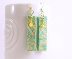 Polymer Clay Dangle Earrings, Polymer Clay Jewelry, Rectangle Boho Earrings, Mint Yellow Pearl, Modern Art, Handmade For Her, Ship Ready by BobblesByCarol on Etsy