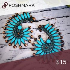 Copper & Turquoise Tribal Earrings Brand new copper & turquoise Tribal earrings. Tags: country girl cowgirl jewelry boots western jewelry earrings Boho gypsy tribal Aztec Navajo southern southwest western rodeo cowgirl style Jewelry Earrings
