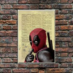 Dead Pool Poster/DeadPool Wall Print/Comics Retro Print/Retro Poster/Book Page/Dictionary Page Print/Quote Poster Quote Posters, Quote Prints, Wall Prints, Book Page Art, Book Pages, As You Like, Just In Case, Vintage Images, Retro Vintage