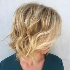 Blonde Messy Wavy Bob Hairstyle