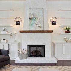 Fantastic Photo Wall Sconces living room Popular Generally, when you have tedious, unfilled partitions, the initial idea is always to liven that on top of fine. Stucco Fireplace, Wooden Fireplace, White Fireplace, Fireplace Remodel, Fireplace Wall, Living Room With Fireplace, Fireplace Surrounds, Fireplace Design, Fireplace Ideas