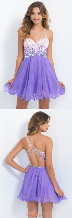 One Shoulder Homecoming Dresses A Line/Princess Tulle & Chiffon Beaded Bodice Item Code: #CMDPE917ADN