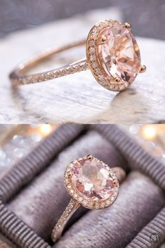 14k rose gold morganite engagement ring with diamond halo and pave shank. This couple was looking for a delicate, feminine engagement ring with an oval stone. After discussing diamonds, we settled on this perfect 7x9mm oval pink morganite. Using 1mm diamo