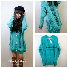 Korean style ripped cardigan @ trinitystyles #trinitystyles #fashion #outfit #ootd #coord #cute #vivi #asian #ulzzang #style #vivi #instafashion #sweater #clothing #fall #winter #pastel #turquoise #mint #picstitch - @Trinity Styles- #webstagram
