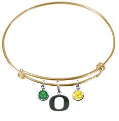 Oregon Ducks NCAA Color Edition Expandable Wire Bangle Charm Bracelet