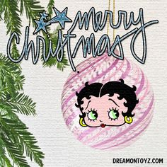 ✴Merry Christmas #bettyboop Christmas and Winter Holiday Graphics and Greetings GO TO ➡ http://boopchristmas.blogspot.com/2015/12/merry-christmas-betty-boop-graphics.html • #merrychristmas in glittering blue with pink swirl Betty Boop glass ornament