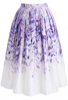 Have a fit of wisteria with this crazy-fabulous printed midi skirt. The lilac-hued flowers hang from the top of the skirt and fade away into a crisp, white hemline curated by elegant pleats.   - Wisteria pattern - Box pleats from waist - Inserted side pockets - Concealed side zip closure  - Lined - 100% Polyester - Machine washable  Size(cm)Length   Waist XS               72          64 S                 72          68           M                 72          72 L                  72        …