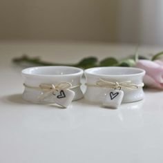 This is Pretty - Ceramic Napkin Ring With Heart - Set Of Two