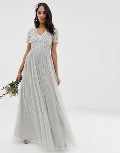 Buy Maya Bridesmaid v neck maxi tulle dress with tonal delicate sequins in soft grey at ASOS. Get the latest trends with ASOS now. Embellished Bridesmaid Dress, Asos Bridesmaid Dress, Lace Bridesmaids, Burgundy Bridesmaid, Bridesmaid Ideas, Pleated Midi Dress, Maxi Dress With Sleeves, Tulle Dress, Short Sleeve Dresses