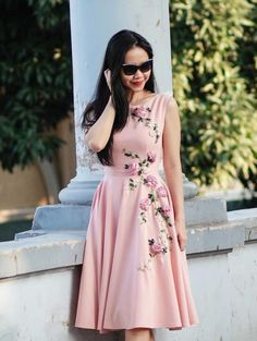 pink roses - 3D ribbon embroidery dress