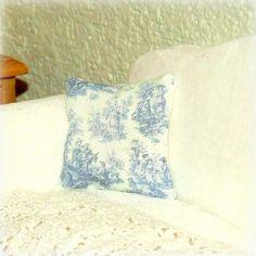 Dollhouse Miniature Blue Toile Cushion Pillow Shabby Chic 12th Scale.