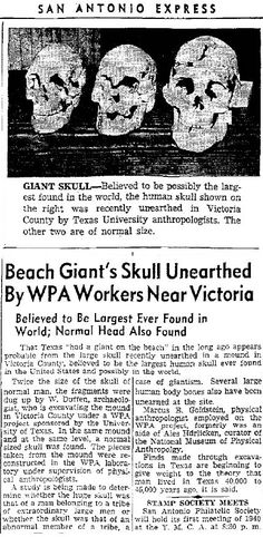 This ancient giant skull (about twice the normal size) was found in 1940 in Victoria County, Texas. I don't know how tall this individual was, but he'd probably be able to lick salt of Yao Ming's scalp. Of course, you and I both know thousands of such skulls, and larger yet, have been found every friggin where on this planet..