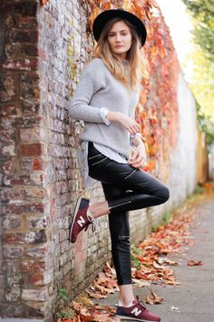 burgundy new balance fedora hat shirt and sweater ootd autumn winter outfit