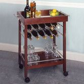 Bar cart. Like this one because of all the wine racks