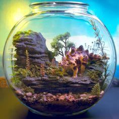 miniature dinosaur gardens images   Pet Stegosaurus Dinosaur - Mini Zen Garden - Terrarium / Diorama