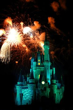 Florida... Cinderella's Castle @ night.. You can see the fireworks every night from my yard!