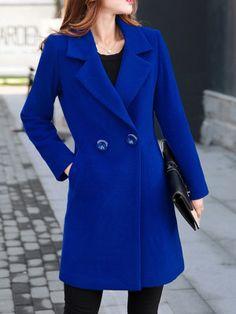 aaea218278 Lapel Longline Plain Pocket Woolen Coat Roupas De Inverno