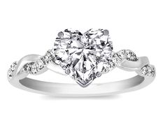 Heart Shaped Engagement Rings Designs | Ring - Heart Shape Diamond Petite twisted pave band Engagement Ring ...