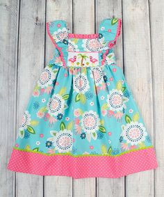 Look at this Stellybelly Blue & Pink Flamingo Peasant Dress - Infant & Kids on #zulily today!