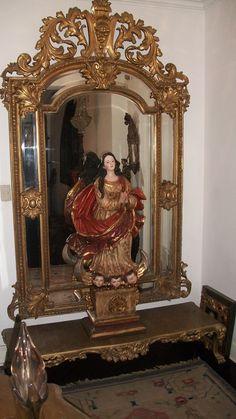 antique mirror and colonial virgin