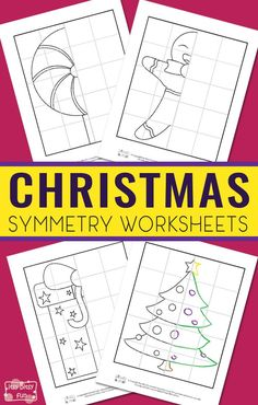 Free Printable Symmetry Worksheets for Kids. Fun Christmas printable activity for kids. #freeprintablesforkids #printableactivities #christmasprintableforkids