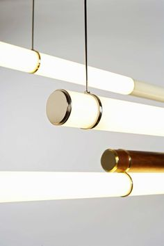 Lighting Design // Mini Endless lamps by Jason Miller // luminescent acrylic tubes are supported by brass and nickel hardware. These can be hung end to end, side to side, or overlapped, the possibilities are endless. Interior Lighting, Home Lighting, Lighting Design, Pendant Lighting, Track Lighting, Tube Lighting Ideas, Industrial Lighting, Industrial Chic, Industrial Design