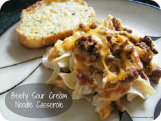 """Made- Beefy Sour Cream Noodle Casserole.  This is pretty good. The sour cream / cottage cheese adds a nice flavor contrast to the meat. It tastes almost like a cheeseburger casserole plus noodles. I made it with 1/2 turkey 1/2 beef and whole grain """"egg"""" noodles. In the future, I think I would either add more meat mixture & cheese or decrease the number of noodles."""